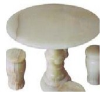 Round white stone table top