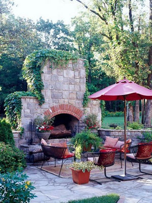 Perfect outdoor fireplace with french style info center for French country stone fireplace