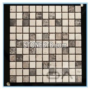 Honed Travertine Marble Mix Tile Backing Mesh Mosaic