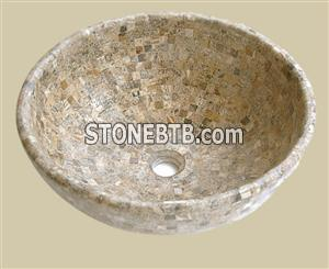 Scabos Travertine mosaic basin