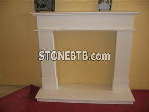 White Limestone Fireplace Mantel