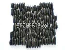 Black stand river stone tile
