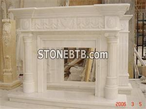 White Indoor Fireplace Mantel