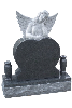 Angel with heart shape headstone granite monument