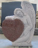 Red angel headstone granite monument with heart shape