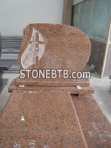 Poland style maple red granite cross with rose monument