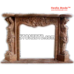 Fireplaces - Red Marble Carved Fireplaces - HestiaMade