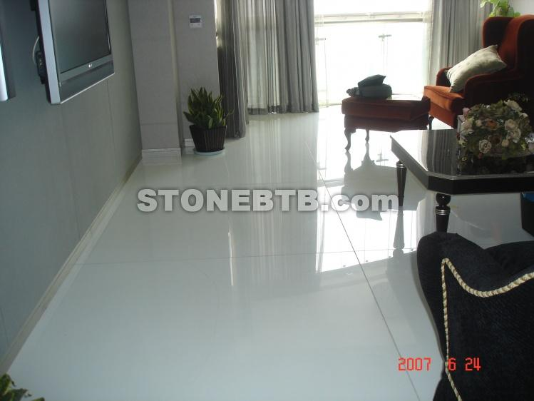Pure White Marmo Crystallized Glass Panel