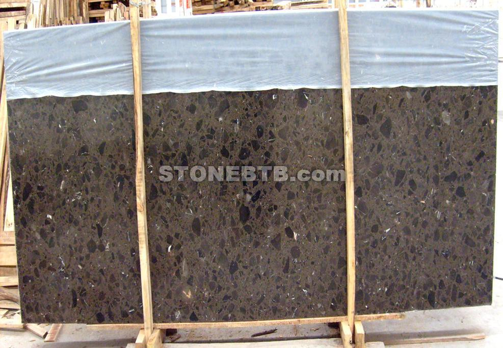 Brown Marble slab - Artificial Stone with Big Grain