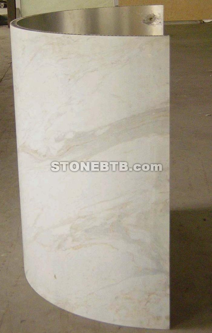 Curved White Marble Honeycomb Laminated Column Supply Of